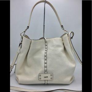 Laurel White Leather Hobo Shoulder Crossbody Bag